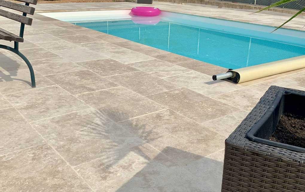 suelo Pavimento travertino para piscina